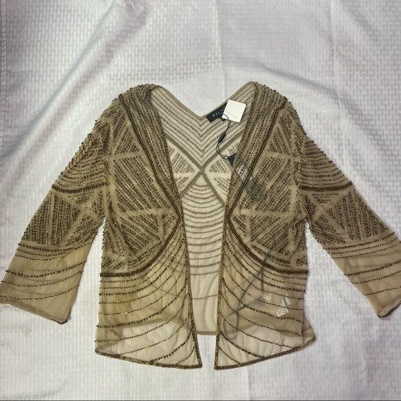 NWT Beulah Style Mesh Beaded Top S/M